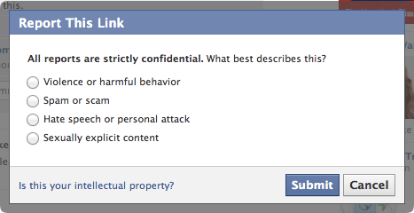 Facebook Negative Feedback Report Link