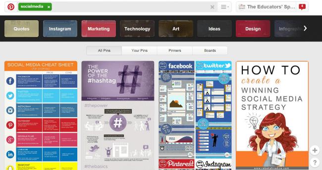 Social Media Pins on Pinterest