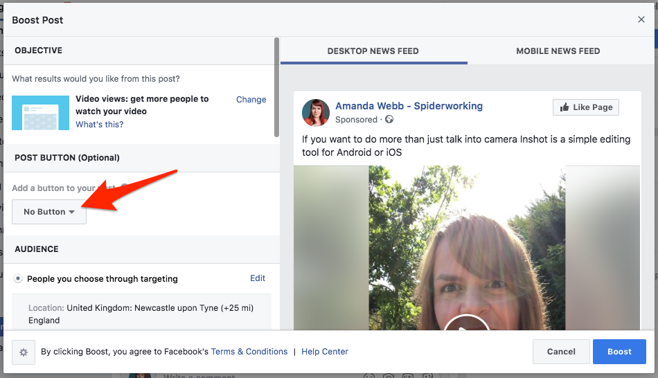 Add a call to action button when you boost your post