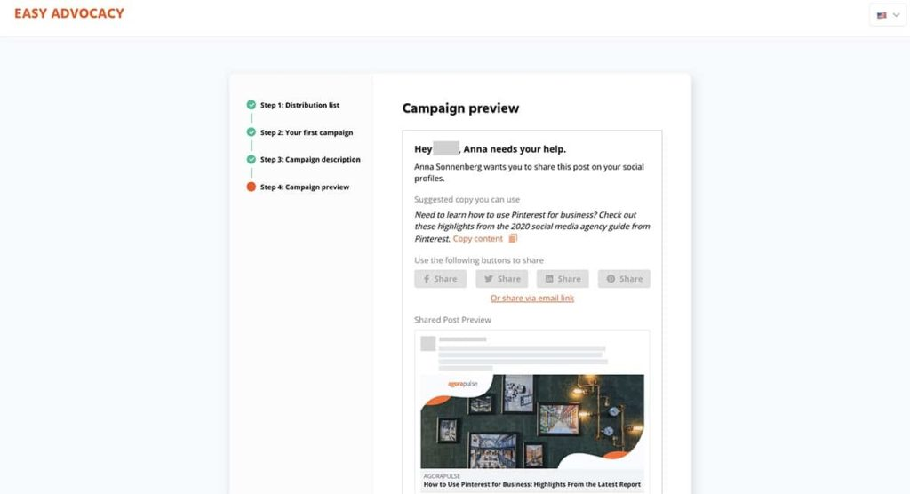easy advocacy, a free social media marketing tool
