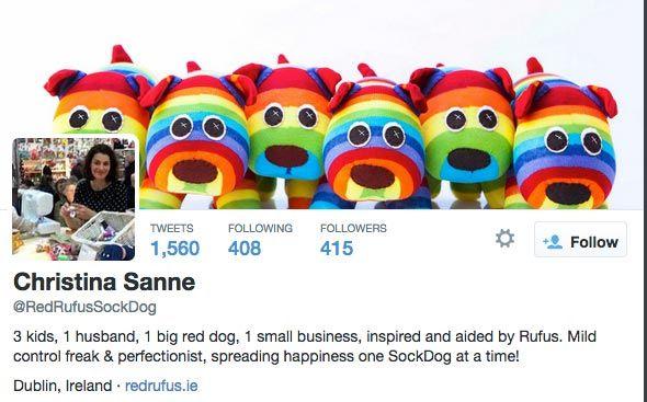 Red Rufus Sock Dog Twitter bio full of personality