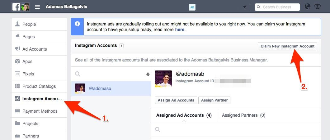 How to claim a new Instagram account on Facebook Business Manager
