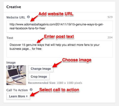 Instagram ad Creative setup - Website URL, Text, Image, Call to Action