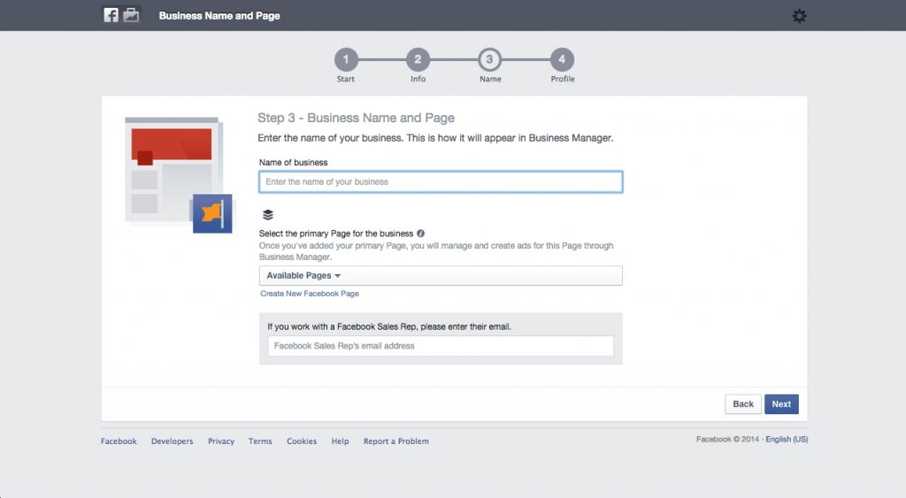 Signing up for Facebook Business Manager Name and Primary Facebook Page