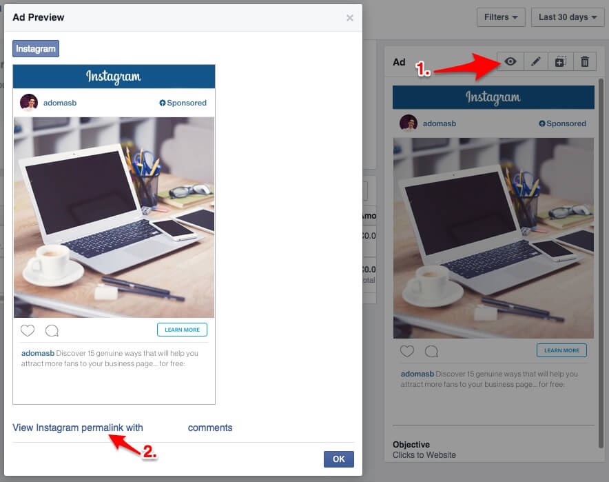 View Instagram permalink with comments in Facebook ads manager