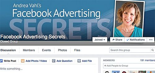 Closed Facebeook group of Andrea Vahl for a FB training program she offers
