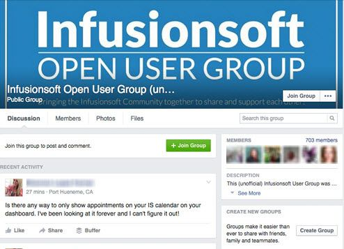 Infusionsoft Open Facebook Group