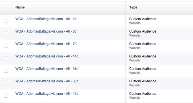 Facebook website custom audiences based on days