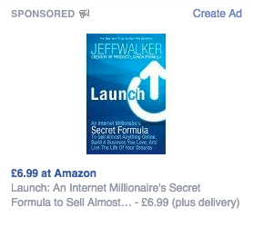 Example of a Facebook remarketing ad - Amazon