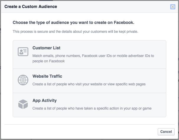 Creating Facebook custom audiences and website custom audiences