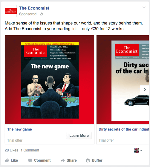 An example of Facebook remarketing ad campaign - the Economist