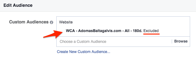 How to exclude a custom audience on Facebook advertising