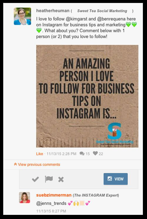 This Instagram post includes the mention of influencers within the social media marketing space.