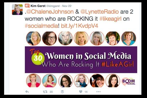 Kim Garst mentioned two people by name in this tweet to her blog post