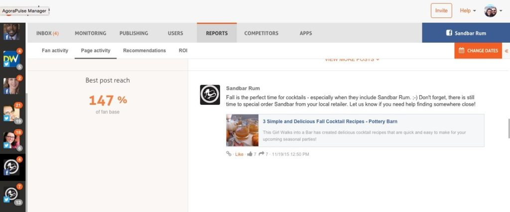 Screenshot of Agorapulse reports