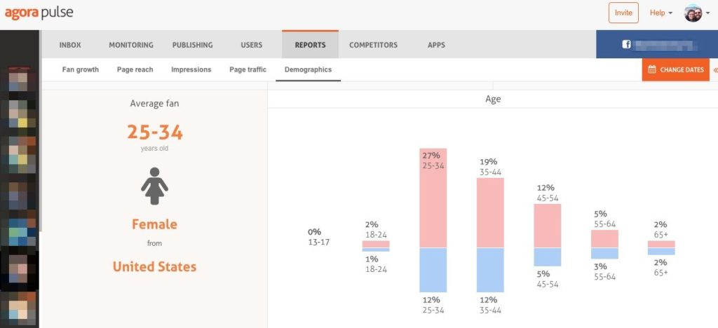 Example of demographic report from Agorapulse dashboard