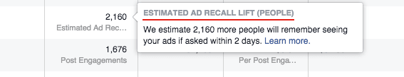 Facebook Brand Awareness Ads - estimated ad recall lift
