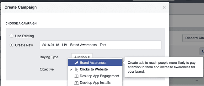 Brand Awareness campaign option in Facebook Power Editor