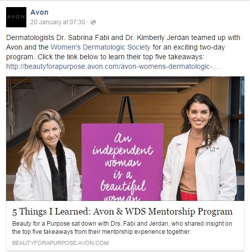 Avon - beauty brands social media