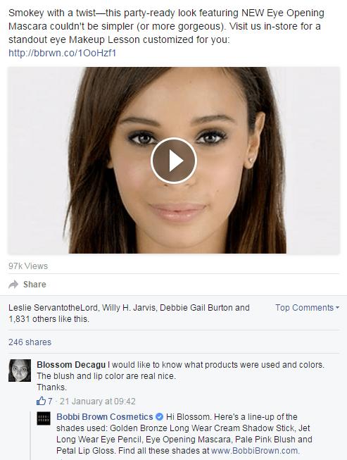 bobbie brown- beauty brands social media