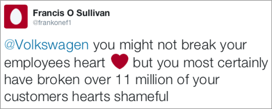Tweet from Francis O Sullivan about Volkswagen