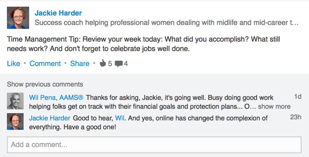 LinkedIn Post Idea from Jackie Harder
