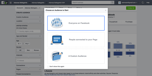 Facebook Audience - Everyone on Facebook, People connected to your page, A Custom Audience