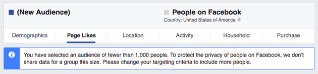 Expand the target audience if Audience Insights stops working on Facebook