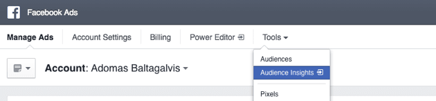 Screenshot of Where to find Facebook Audience Insights tool