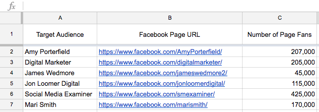 Saving Facebook Page Likes suggestions into a spreadsheet