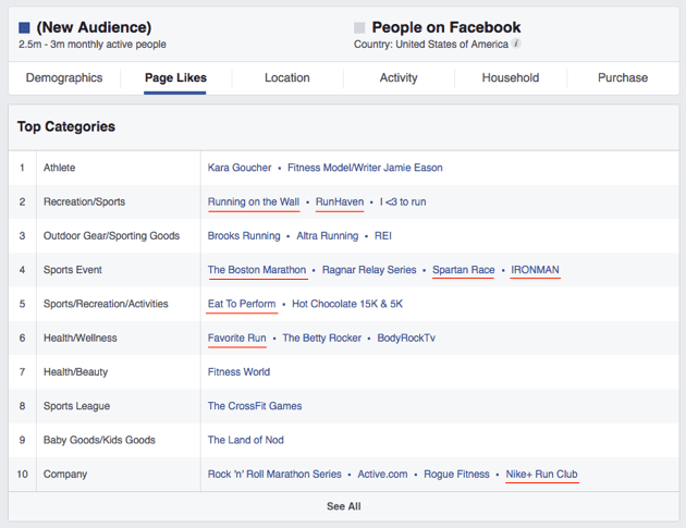 Facebook's audience Insights and what categories people are interested in