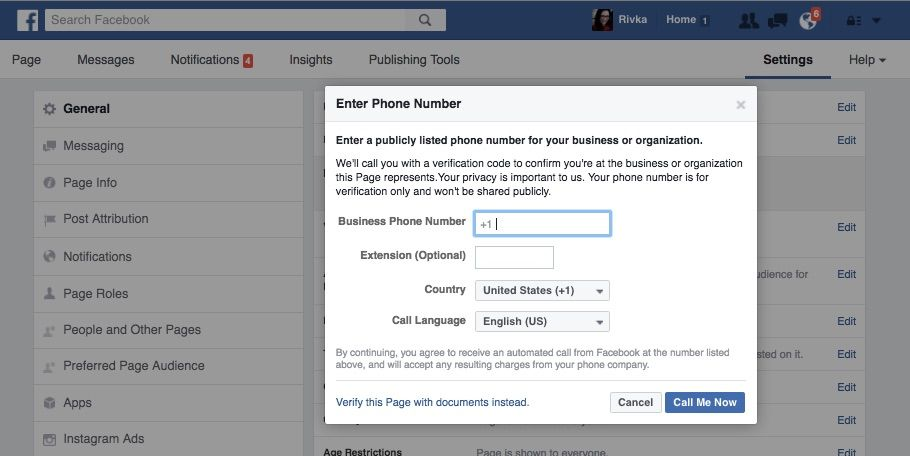 Facebook Page Verification Step 3