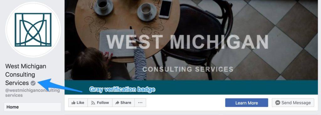 facebook page verification gray badge