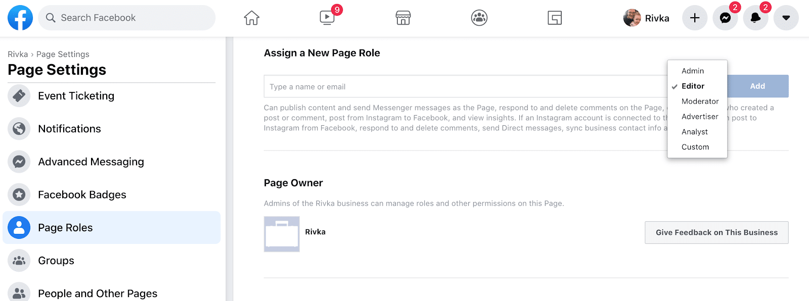 page settings and roles for social media policy