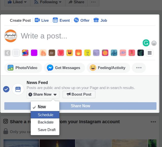 scheduling a Facebook postt