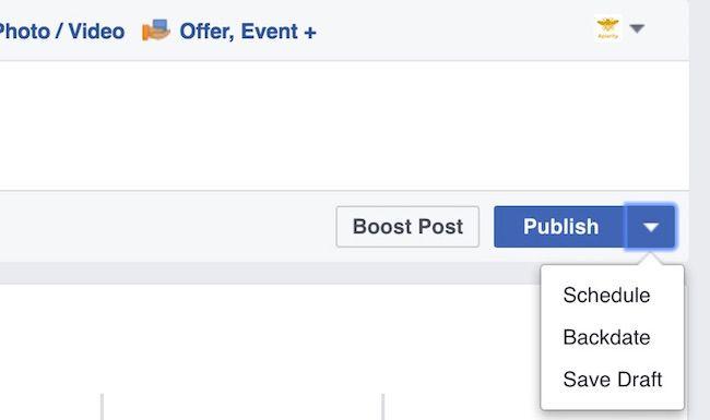 Facebook scheduling screenshot