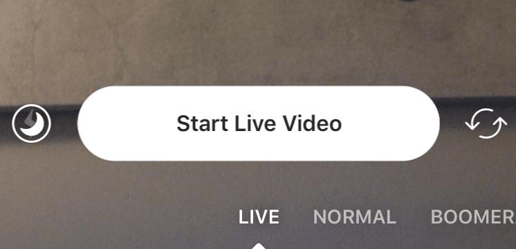 Start your Instagram live video