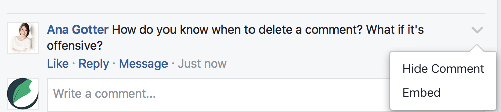 how to hide comments on Facebook