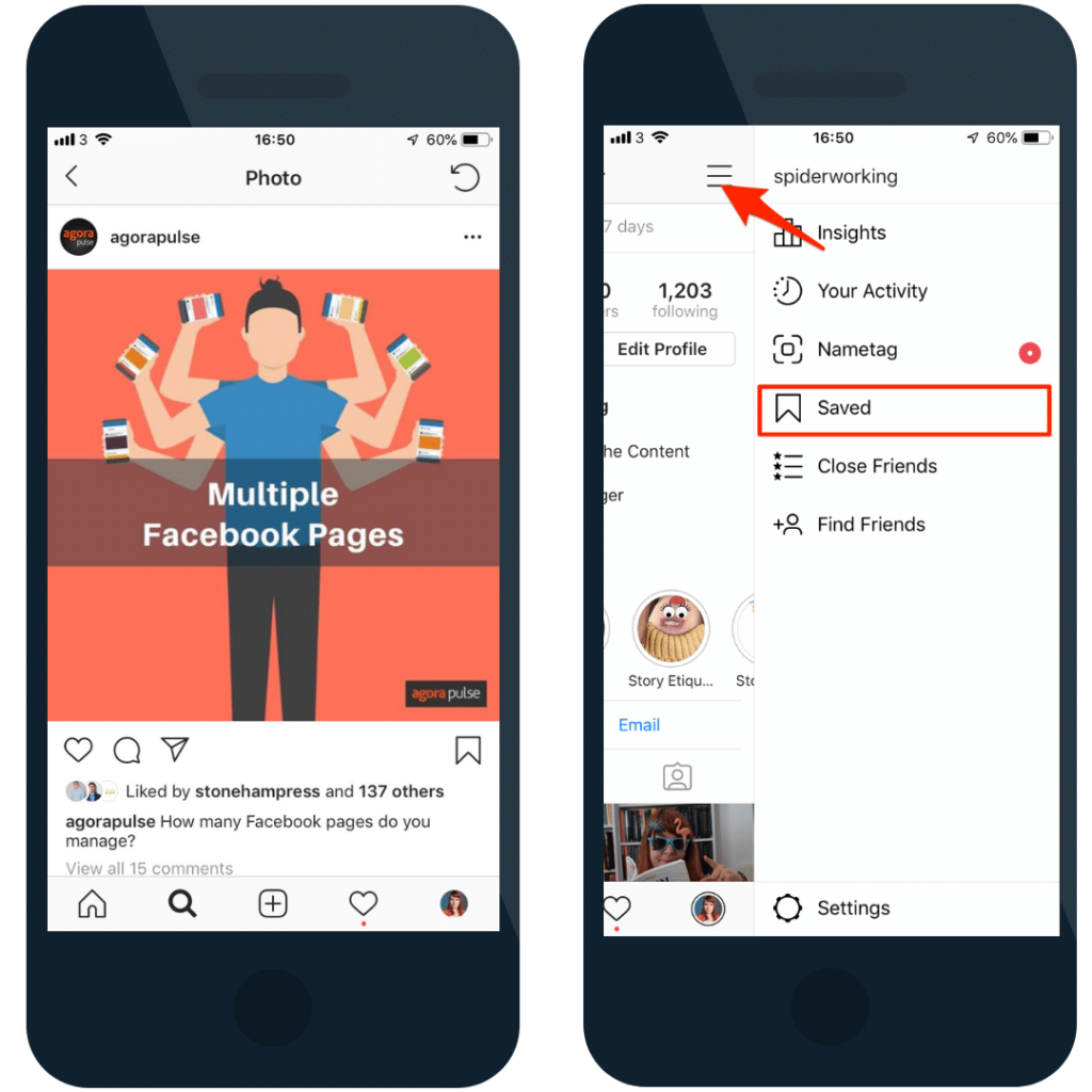 Save posts from your favourite people so you remember to visit their accounts.
