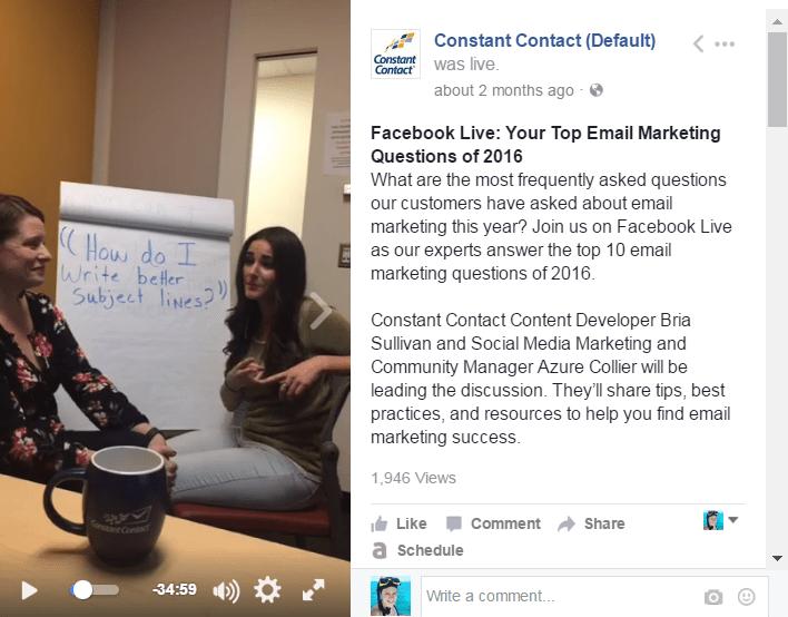 Constant Contact Facebook Live Q&A