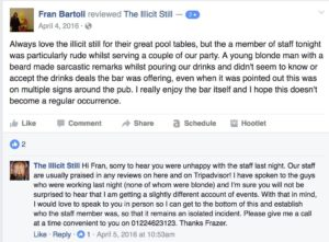 example of a negative review on a facebook page