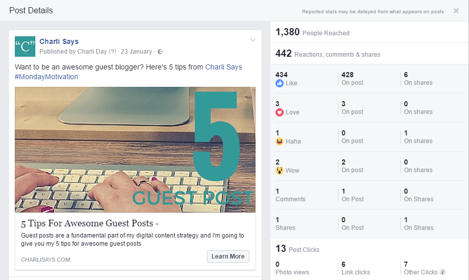 facebook post statistics