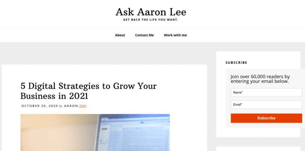 website of aaron lee social media influencer