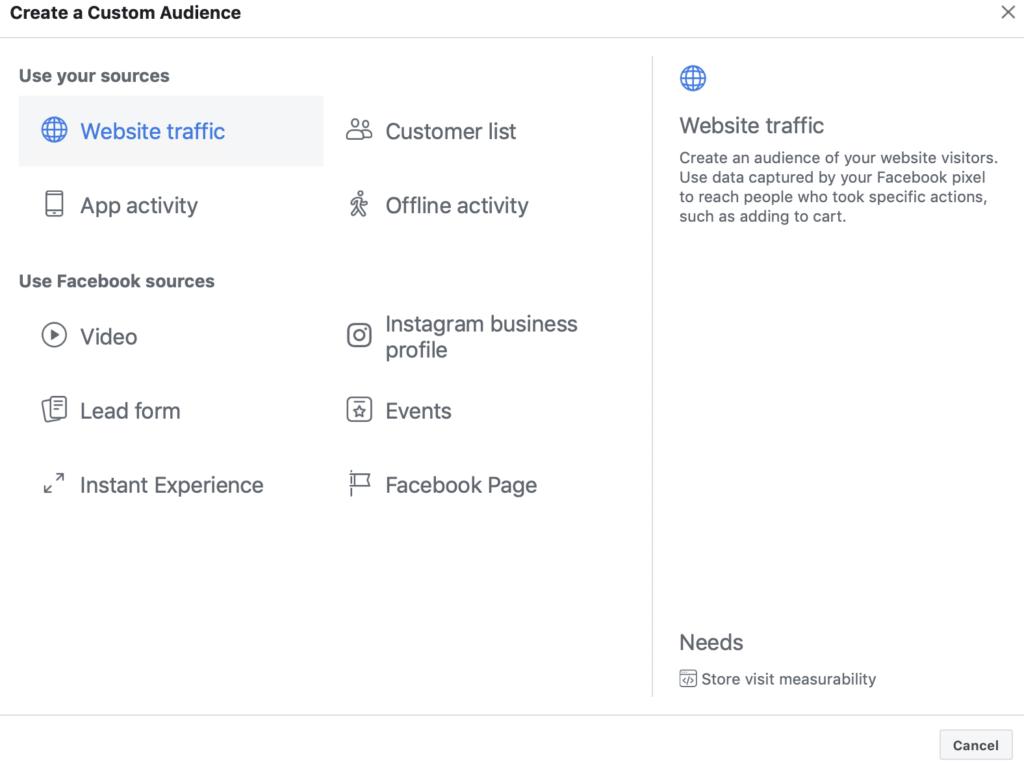 website traffic and create a custom audience