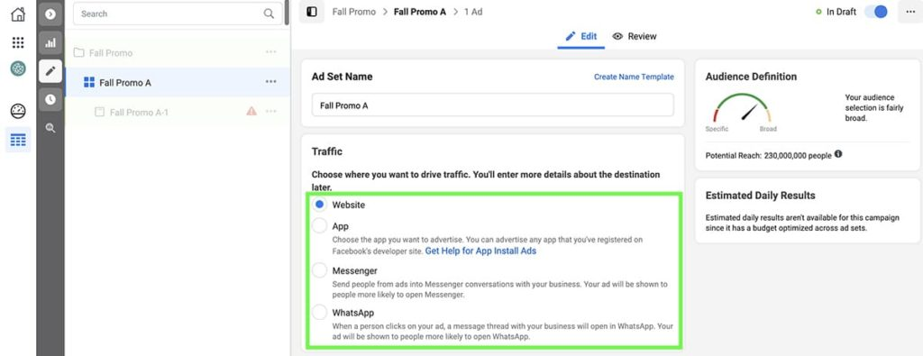 Traffic objective for Facebook Ads
