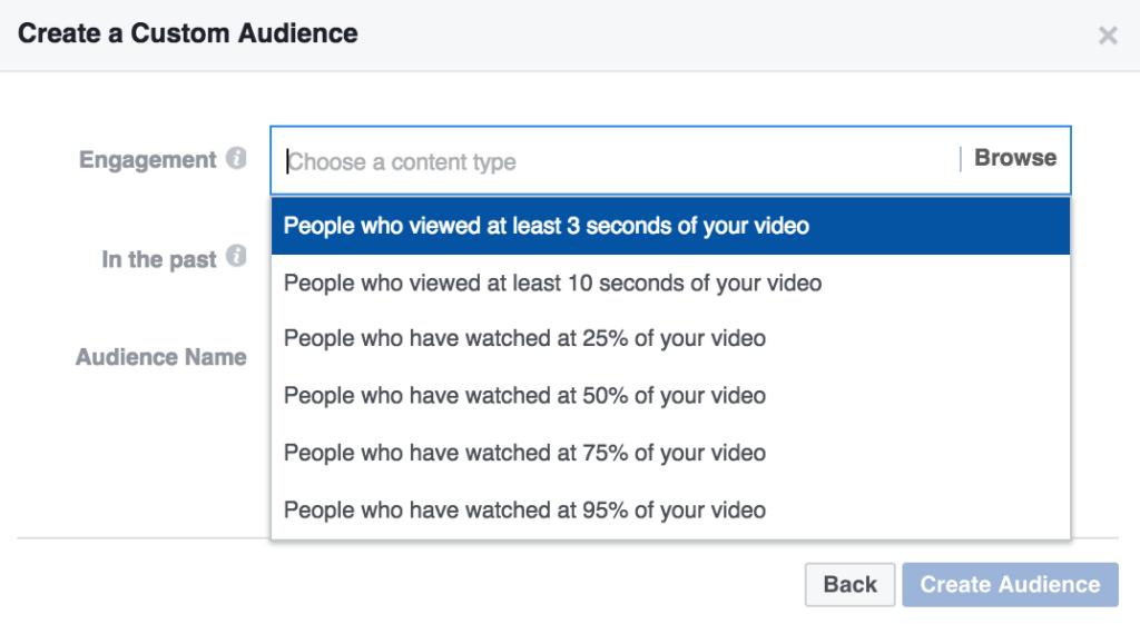 Facebook Retargeting Audiences - Video Views