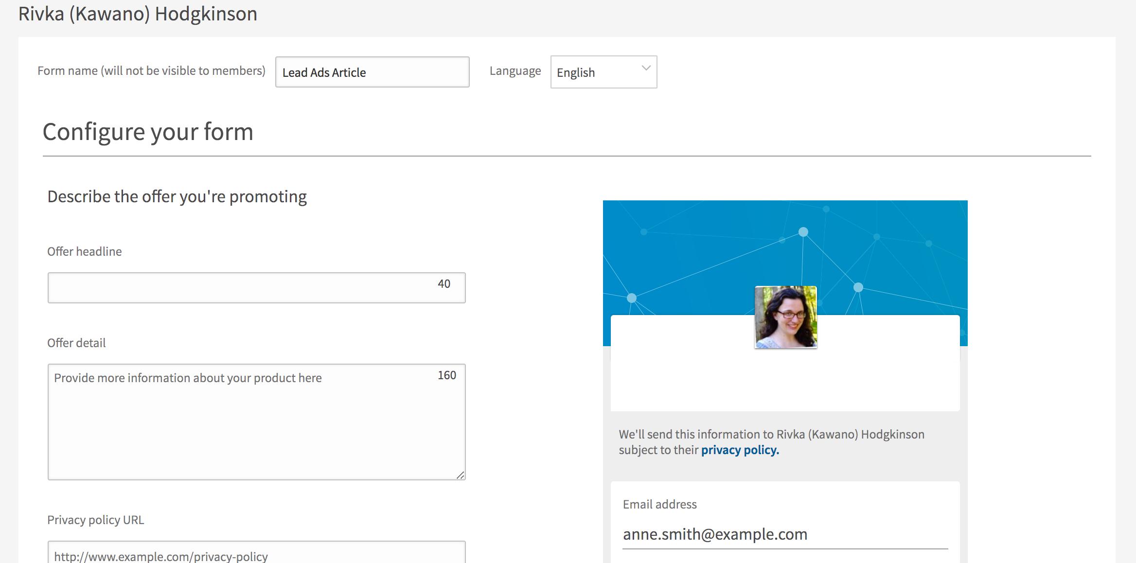 Lead Ads Form Example -- screenshot step 2