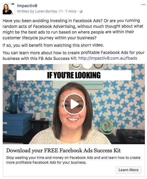 Facebook Video Ad call-to-action button