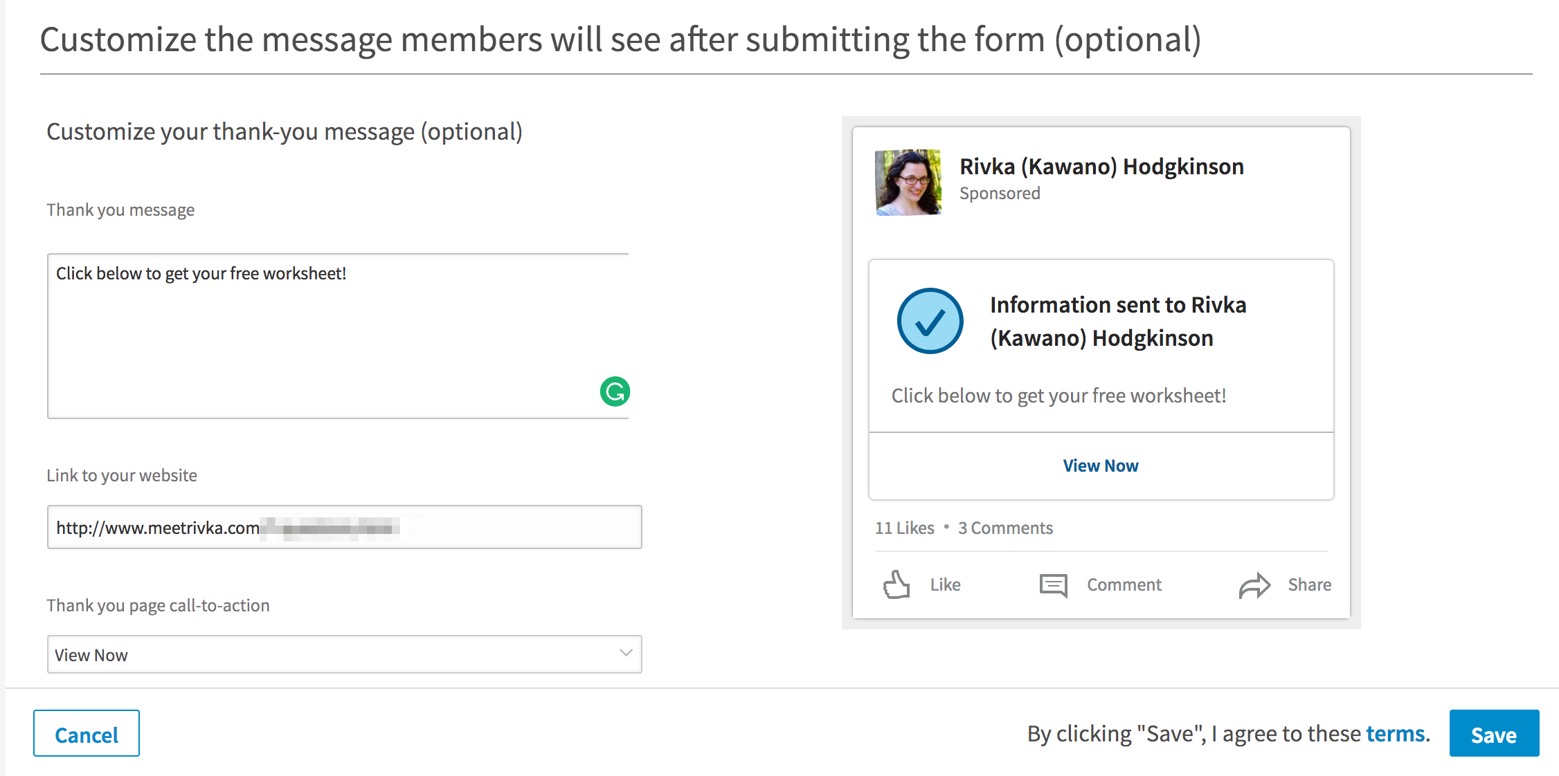 LinkedIn Lead Ad customization -- screenshot step 3