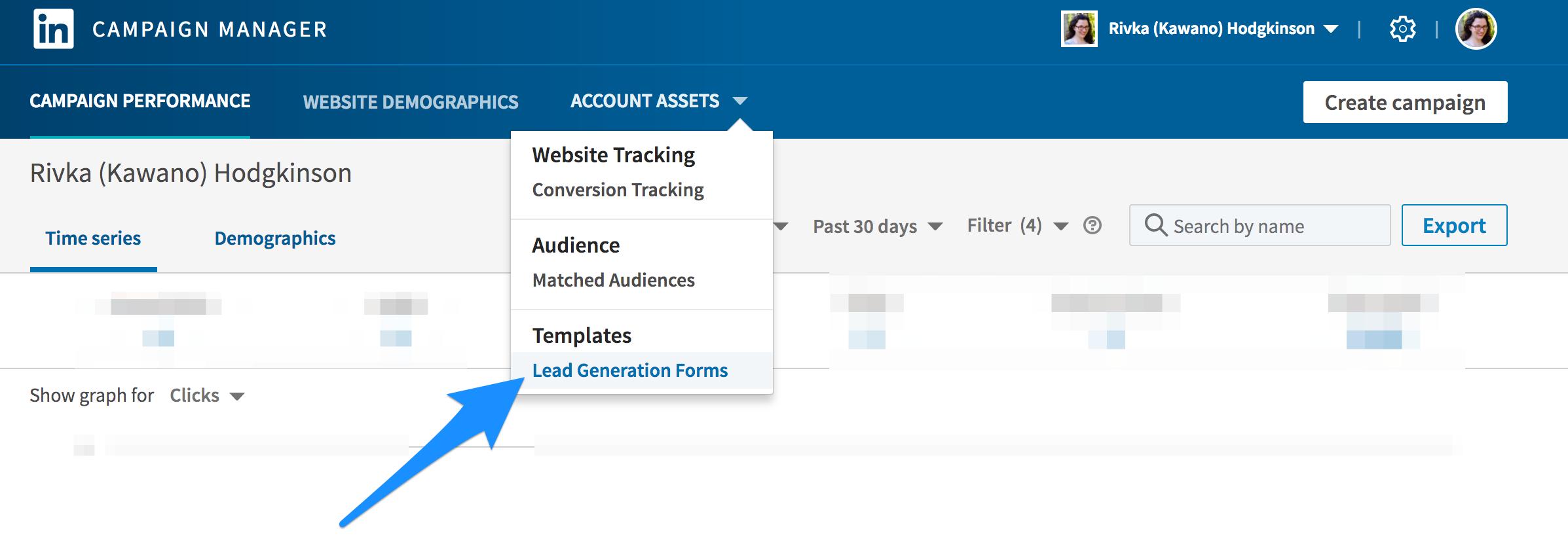 How to create a LinkedIn Lead Ad -- screenshot step 1